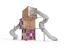 Wooden play structure / for playgrounds / for public buildings / modular