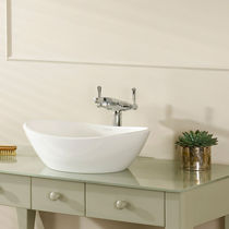 Washbasin double-handle mixer tap / deck-mounted / chromed metal / nickel