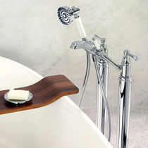 Bathtub double-handle mixer tap / free-standing / chromed metal / nickel