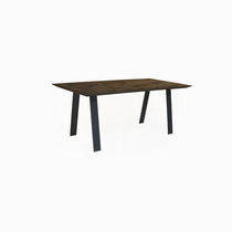Dining table / contemporary / leather / oak