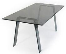 Contemporary table / glass / metal / rectangular