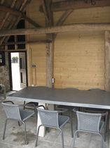 Coffee table / contemporary / oak / zinc