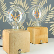 Bedside table lamp / contemporary / ceramic / solid wood