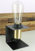 Bedside table lamp / contemporary / painted metal / black