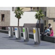 Public waste bin / floor-mounted / stainless steel / contemporary