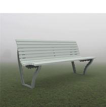 Public bench / contemporary / oak / cast iron