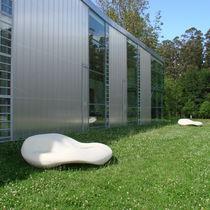 Public bench / original design / polyethylene / with backrest