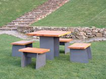 Contemporary table and chair set / wooden / steel / for outdoor use