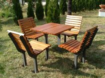 Contemporary table and chair set / wooden / cast iron / for outdoor use