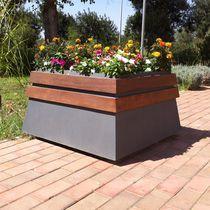 Steel planter / wooden / rectangular / contemporary