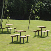 Contemporary picnic table / wooden / metal / for public spaces