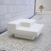 Public bench / contemporary / concrete / with backrest