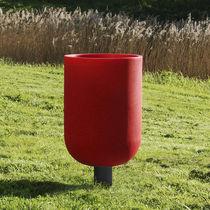 Public trash can / built-in / steel / plastic