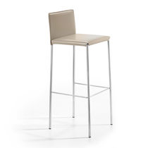 Contemporary bar chair / upholstered / fabric / leather