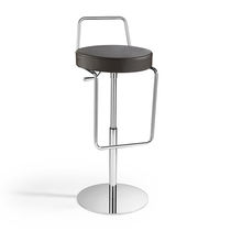 Contemporary bar stool / leather / fabric / steel