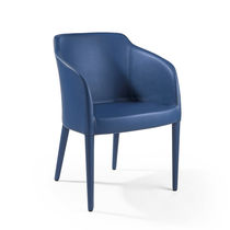 Contemporary chair / fabric / leather / blue