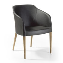 Contemporary chair / with armrests / upholstered / beech
