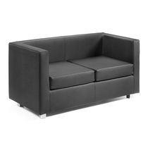 Contemporary sofa / fabric / leather / 2-seater