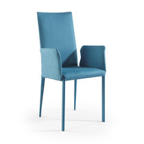 Contemporary chair / with armrests / upholstered / fabric