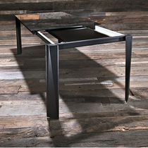 Contemporary table / wooden / tempered glass / aluminum