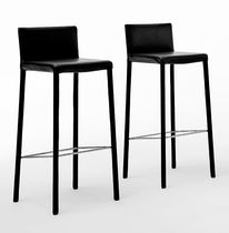 Contemporary bar chair / upholstered / leather / steel