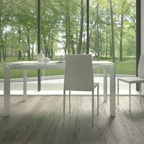 Contemporary table / wooden / tempered glass / rectangular