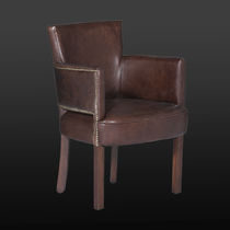 Traditional chair / with armrests / upholstered / leather