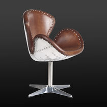 Contemporary armchair / leather / steel / swivel