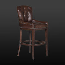 Traditional bar chair / leather