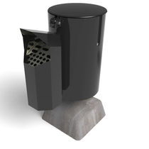 Public trash can / steel / with built-in ashtray / contemporary