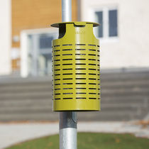 Public trash can / wall-mounted / steel / contemporary