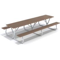 Contemporary picnic table / steel / pine / rectangular
