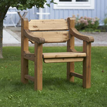 Contemporary chair / with armrests / wooden / for public spaces