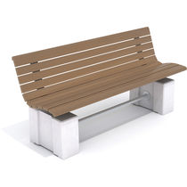Public bench / contemporary / pine / concrete