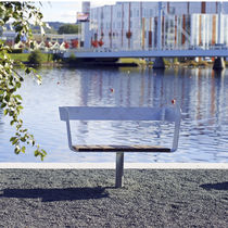 Public bench / contemporary / wooden / with backrest