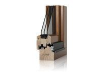 Swing window / in wood / triple-glazed / thermal break