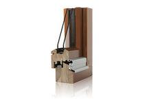 Swing window / in wood / double-glazed / thermal break