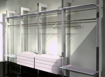 Contemporary walk-in wardrobe / lacquered aluminum / wooden / glass