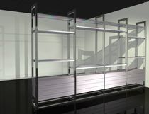 Contemporary shelf / wooden / aluminum / glass