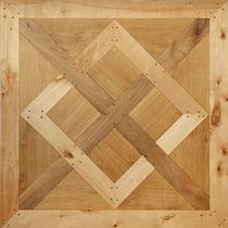 Solid parquet flooring / oak / aged / wood inlaid