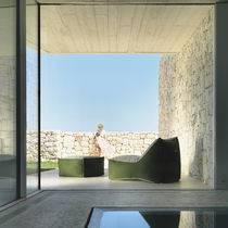 Contemporary pouf / fabric / square / garden