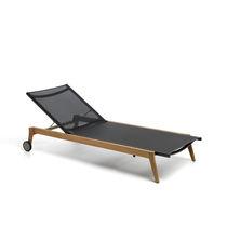 Contemporary sun lounger / teak / Textilene® / garden