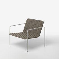 Contemporary armchair / rope / aluminium / garden