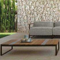 Contemporary coffee table / iroko / stainless steel / travertine