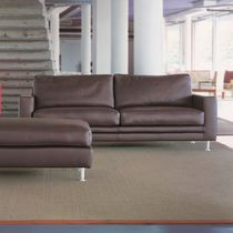 Contemporary sofa / leather / aluminum / fabric