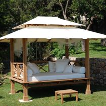 Canopy garden bed / double / contemporary / teak
