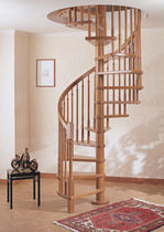 Spiral staircase / wooden frame / without risers