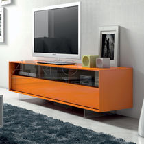Contemporary TV cabinet / lacquered wood / glass