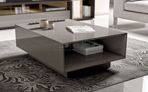 Contemporary coffee table / lacquered wood / rectangular / with storage compartment