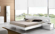 Double bed / contemporary / with headboard / wood